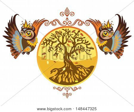 Vector illustration. Decorative vector owl with autumn tree