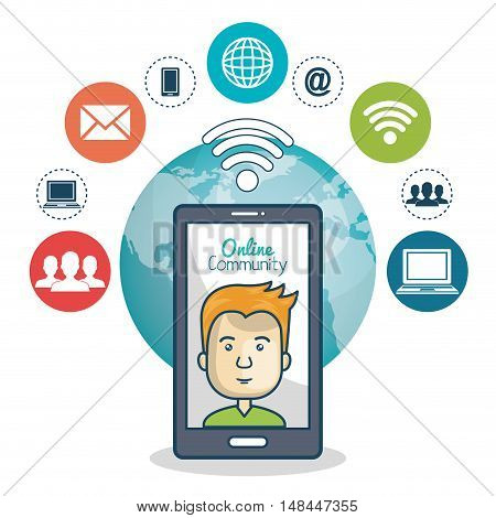 cartoon guy technology and globe graphic vector illustration eps 10