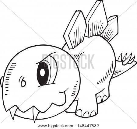 Tough Stegosaurus Dinosaur Vector Illustration Art