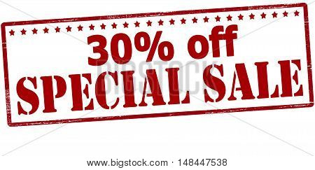 Rubber stamp with text thirty percent off special sale inside vector illustration