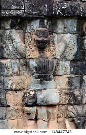 Ancient bas-relief at the Terrace of the Elephants in Angkor Thom, Cambodia.