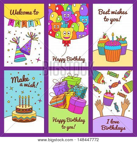 Set Of Happy Birthday Greeting Cards.there Are Balloons, Gift Boxes, Confetti, Cup Cakes, Cake, Cand