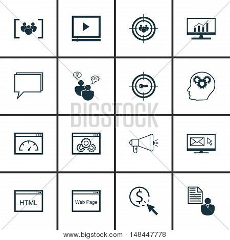 Set Of Seo, Marketing And Advertising Icons On Web Page, Video Advertising, Pay Per Click And More.