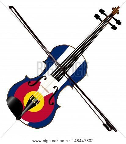 A typical violin with Colorado flag and bow isolated over a white background