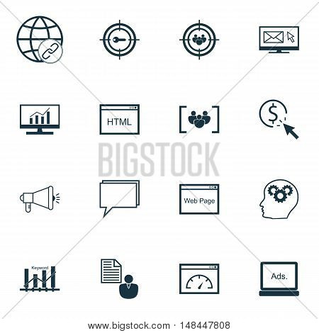 Set Of Seo, Marketing And Advertising Icons On Client Brief, Keyword Ranking, Html Code And More. Pr
