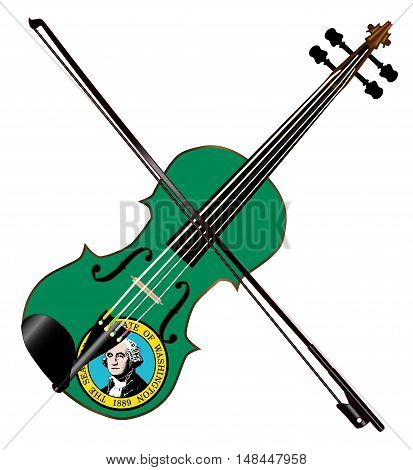 A typical violin with Washington state flag and bow isolated over a white background