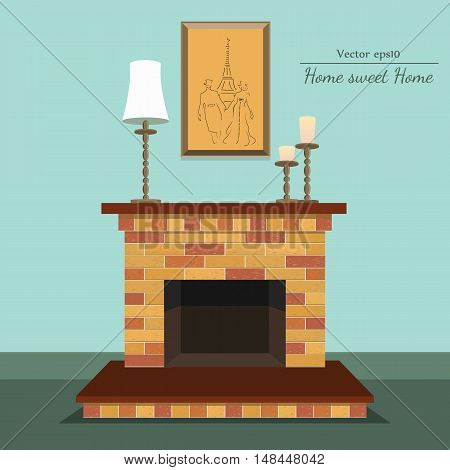 Vector fireplace with home sweet home with painting and candle with format eps10.