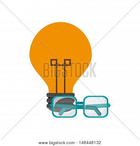 flat design lightbulb and glasses  icon vector illustration