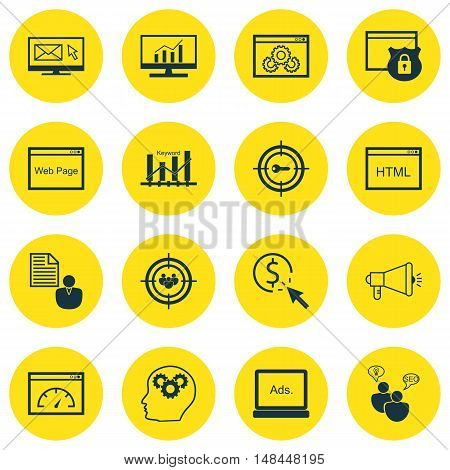 Set Of Seo, Marketing And Advertising Icons On Display Advertising, Keyword Ranking, Comprehensive A
