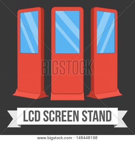 LCD Screen Floor Stand. Red Trade Show Booths with different angles. Vector illustration of kiosk machines on black background. Ad template for your expo design with ribbon banner text.