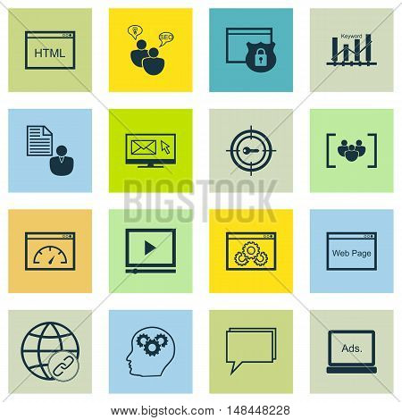 Set Of Seo, Marketing And Advertising Icons On Website Protection, Website Optimization, Keyword Ran
