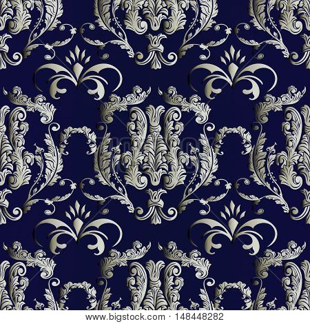 Baroque damask dark blue medieval floral vector seamless pattern background illustration with vintage antique decorative baroque silver 3d flowers leaves ornaments. Baroque seamless pattern.