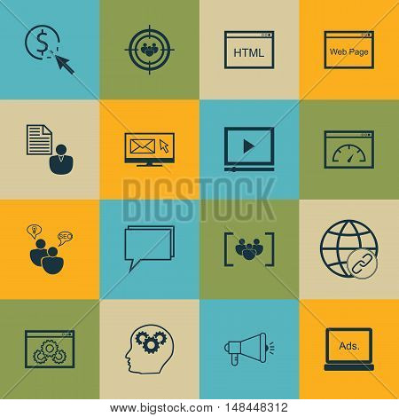 Set Of Seo, Marketing And Advertising Icons On Video Advertising, Online Consulting, Link Building A