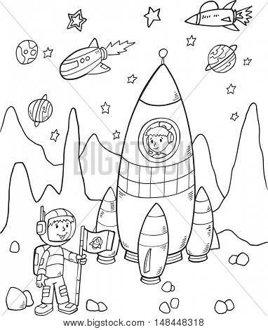 Doodle Rocket Vector Illustration Art