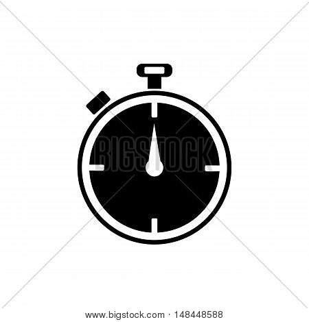 Timer icon. Flat design. Silhouette vector illustration