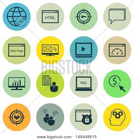 Set Of Seo, Marketing And Advertising Icons On Link Building, Online Consulting, Audience Targeting