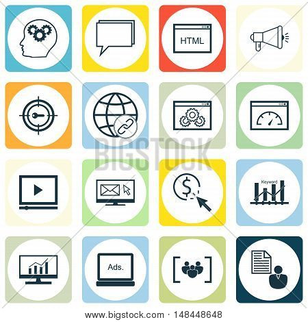 Set Of Seo, Marketing And Advertising Icons On Website Optimization, Focus Group, Link Building And