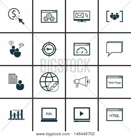 Set Of Seo, Marketing And Advertising Icons On Seo Consulting, Focus Group, Display Advertising And