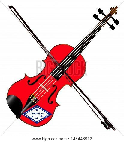 A typical violin with Arkansas state flag and bow isolated over a white background