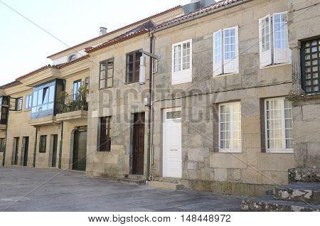 Stone houses in Plaza Alfonso Fonseca in Pontevedra Galicia Spain