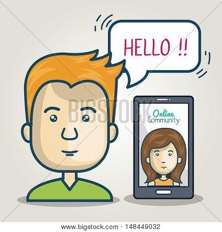 community online man smartphone bubble speech graphic vector illustration eps 10