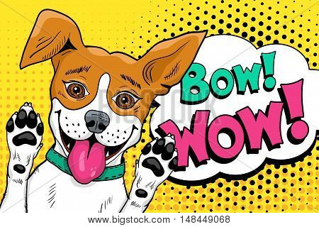 Bow Wow Pop Art Dog. Funny Happy Surprised Dog  With Open Mouth Rising His Paws Up. Vector Illustrat