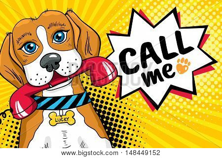 Funny Dog With Big Sad Eyes Holding Red Phone Receiver In Mouth And Speech Bubble With Call Me Lette
