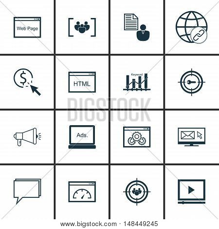 Set Of Seo, Marketing And Advertising Icons On Focus Group, Page Speed, Viral Marketing And More. Pr