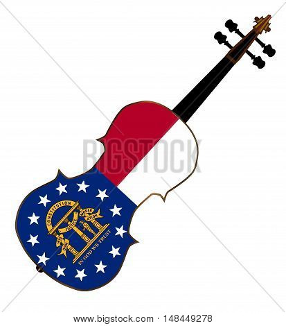 A typical violin with Georgia state flag isolated over a white background