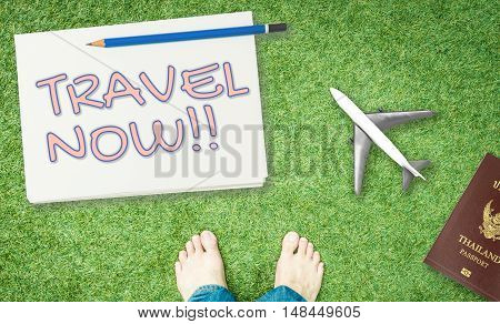 Bare feet on grass holiday travel now banner
