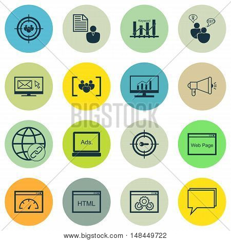 Set Of Seo, Marketing And Advertising Icons On Html Code, Online Consulting, Target Keywords And Mor