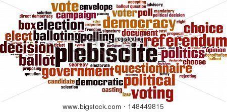 Plebiscite word cloud concept. Vector illustration on white