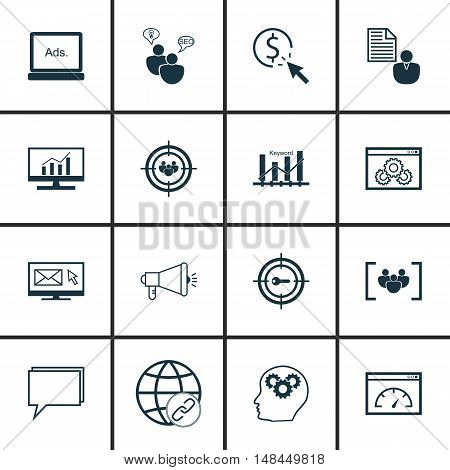 Set Of Seo, Marketing And Advertising Icons On Website Optimization, Seo Consulting, Comprehensive A