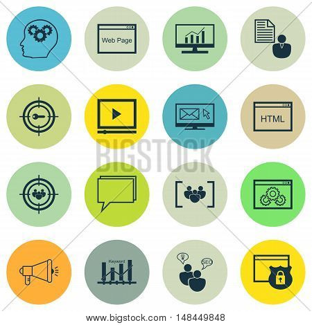 Set Of Seo, Marketing And Advertising Icons On Creativity, Client Brief, Audience Targeting And More