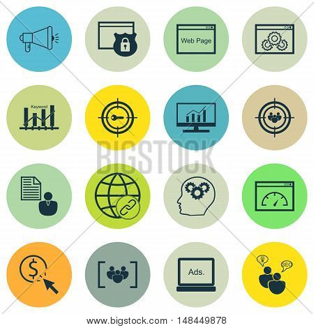 Set Of Seo, Marketing And Advertising Icons On Website Optimization, Pay Per Click, Page Speed And M