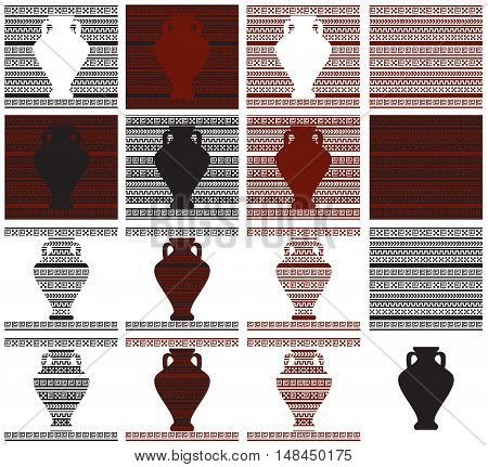 seamless pattern with black-figure and red-figure ornament and suluet vases