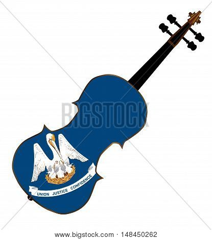 A typical violin with Louisiana state flag isolated over a white background