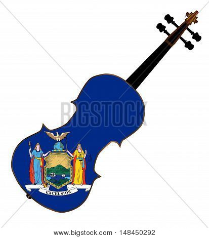 A typical violin with New York state flag isolated over a white background