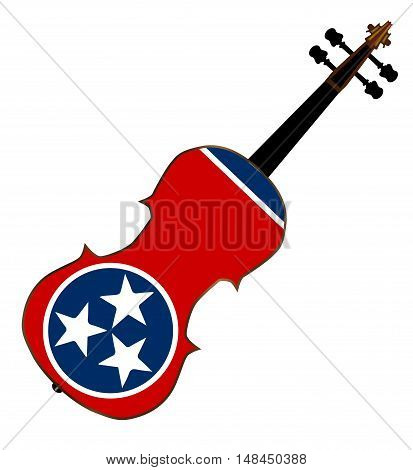 A typical violin with Tennessee state flag isolated over a white background