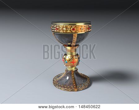 3d illustration of a grail with precious stones