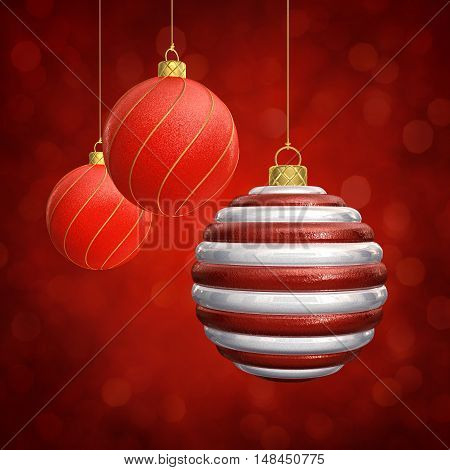 Christmas baubles on red sparkly background , 3d illustration
