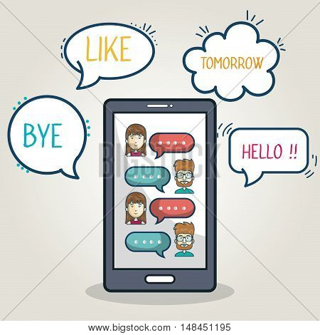 mobile chat group character smartphone graphic vector illustration eps 10