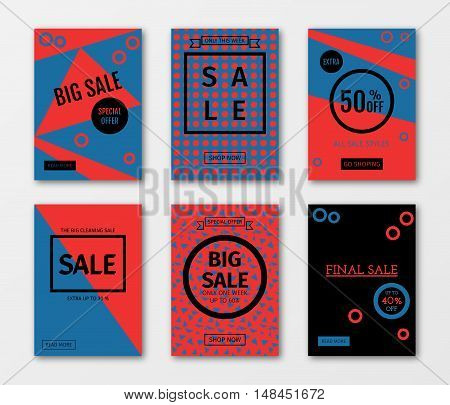 Set of sale templates with discount offer. Vector illustrations for social media banners, posters, email and newsletter designs, ads, promotional material, website and mobile website banners.