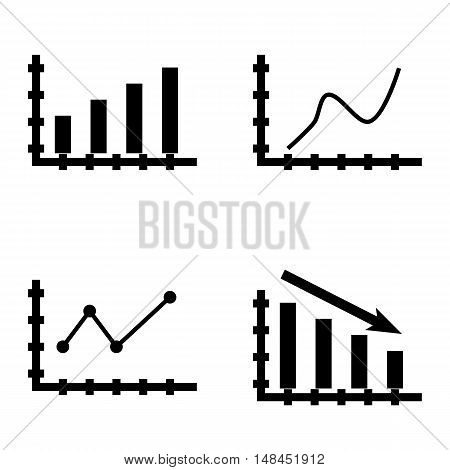 Set Of Statistics Icons On Bar Chart, Curved Line, Statistics Down And More. Premium Quality Eps10 V
