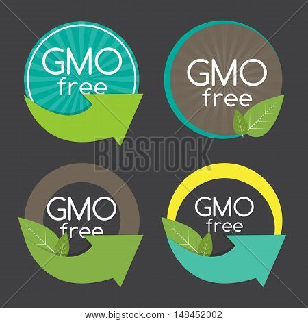 Gmo Free Label Set Vector Illustration EPS10