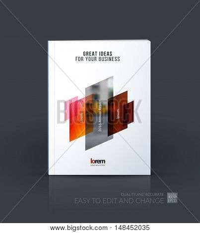 Brochure template layout, cover design annual report, magazine, flyer, leaflet in A4 with red orange dynamic rectangle, triangles with overlap effect for business and technology. Creative artwork.
