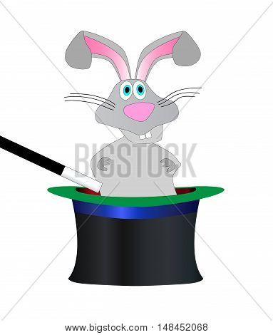 A magicians hat and wand with cartoon rabbit over a white background