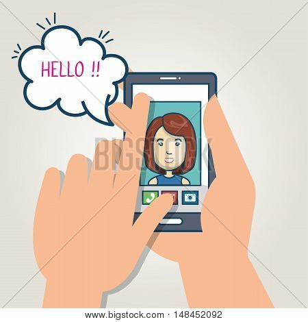cartoon smartphone hand holding mobile chat graphic vector illustration eps 10