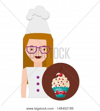 chef character baked goods vector illustration design