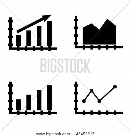 Set Of Statistics Icons On Bar Chart, Statistics Growth, Area Chart And More. Premium Quality Eps10